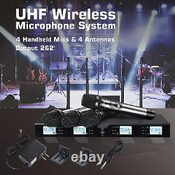Pro Audio Uhf Wireless Microphone System 4 Channel Handheld Karaoke MIC Metal