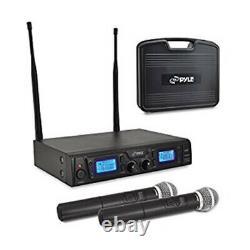 Pyle Pdwm2560 Uhf Handheld MIC System Avec 2 Microphones, Fréquence Sélectionnable