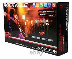 Rockville Rwm4401uh Quad Uhf 4 Système De Microphone À Main Sans Fil Avec Affichage LCD