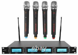Rockville Rwm4401uh Uhf (4) Microphones Sans Fil Handheld 4 Church Sound Systems