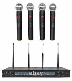 Rockville Rwm90u Quad Uhf Microphone Sans Fil Portable Avec Boîtier Lcd+metal