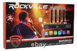 Rockville Rwm90u Uhf (4) Microphones Sans Fil Handheld 4 Church Sound Systems