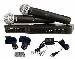 Shure Dual Two Handheld Mics Uhf Wireless Microphone System Blx288/pg58