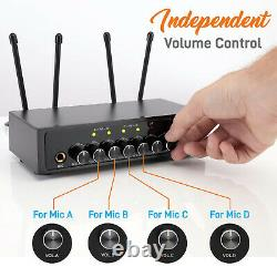 Système De Microphone Sans Fil Pyle Avec Base De Récepteur Bluetooth Et 4 Micros Portables