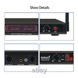 Système De Microphone Uhf Sans Fil 2 Canaux MIC Audio Portatif Fréquence Réglable