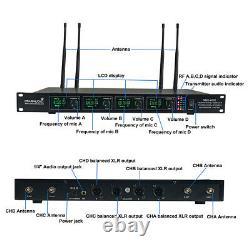Wireless Microphone System Pro Audio Uhf Dj 4 Channel Handheld Metal Dynamic MIC